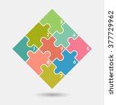 nine vector jigsaw puzzle... | Shutterstock .eps vector #377729962