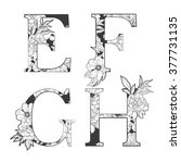 vector flower alphabet. tattoo... | Shutterstock .eps vector #377731135