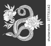 snakes and flowers. tattoo art  ... | Shutterstock .eps vector #377731162