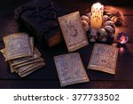 the tarot cards with crystal ... | Shutterstock . vector #377733502