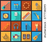 Set of musical instruments icons. Flat design.