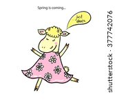 little cute lamb dancing and... | Shutterstock .eps vector #377742076