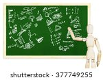 man draws various graphs and... | Shutterstock . vector #377749255