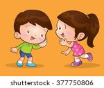 cute girl  talking and boy... | Shutterstock .eps vector #377750806