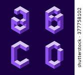 3d flat isometric alphabet.... | Shutterstock .eps vector #377758102