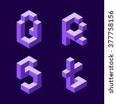 3d flat isometric alphabet.... | Shutterstock .eps vector #377758156