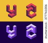 3d isometric alphabet. letters... | Shutterstock .eps vector #377761006