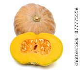 Pumpkin With Half Isolated On...