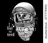 owl in a modern racer helmet.... | Shutterstock .eps vector #377779492