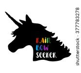 black silhouette of unicorn... | Shutterstock .eps vector #377783278