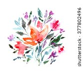 flowers. watercolor floral... | Shutterstock . vector #377802496