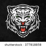 face of a white bengal tiger.... | Shutterstock .eps vector #377818858