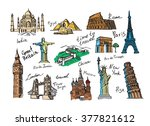 vector hand drawn travel icon... | Shutterstock .eps vector #377821612