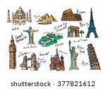 vector hand drawn travel icon... | Shutterstock .eps vector #377821612