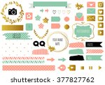 blog design set with ribbons ... | Shutterstock .eps vector #377827762