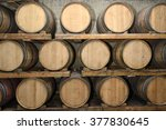wine wood kegs in traditional... | Shutterstock . vector #377830645