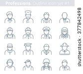 flat line vector avatars group... | Shutterstock .eps vector #377842498
