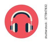 headphones in flat style. white ... | Shutterstock .eps vector #377847832