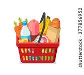 shopping basket full of... | Shutterstock .eps vector #377856952