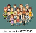 group of happy cartoon people  | Shutterstock .eps vector #377857945