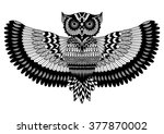 owl zentangle for t shirt design | Shutterstock .eps vector #377870002