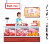 fresh meat stand in a... | Shutterstock .eps vector #377871742