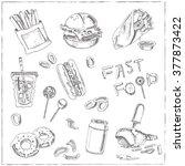 set of fast food drawings.... | Shutterstock .eps vector #377873422