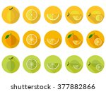 vitamin c fruit flat icons | Shutterstock .eps vector #377882866