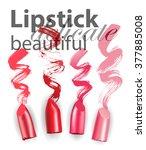 set of wet lipsticks and... | Shutterstock .eps vector #377885008