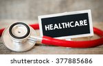 healthcare and stethoscope.... | Shutterstock . vector #377885686