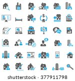 real estate icons set | Shutterstock .eps vector #377911798