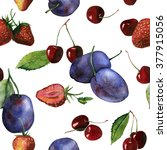 seamless watercolor fruit and... | Shutterstock . vector #377915056