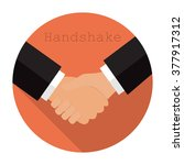 logo shaking hands in a flat ...