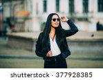 young fashion brunette woman in ... | Shutterstock . vector #377928385