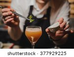 Stock photo barman is decorating cocktail with rocket no face 377929225