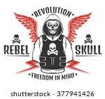 set of rebel skull and...   Shutterstock .eps vector #377941426