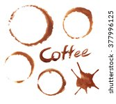 coffee stains on white... | Shutterstock . vector #377996125