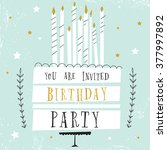 cute happy birthday card with... | Shutterstock .eps vector #377997892