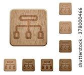 set of carved wooden network...
