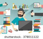 hard working business man.... | Shutterstock .eps vector #378011122