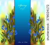 hand drawn spring snowdrop blue ... | Shutterstock .eps vector #378024172