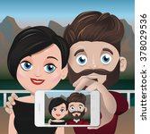 couple taking selfie at the... | Shutterstock .eps vector #378029536