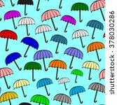 vintage open color umbrella... | Shutterstock .eps vector #378030286