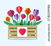 Wooden Box With Colored Tulips. ...