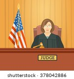judge woman in courthouse at... | Shutterstock .eps vector #378042886
