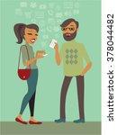 couple using smartphones... | Shutterstock .eps vector #378044482