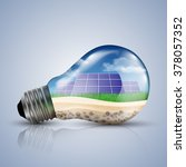 light bulb with solar panel an... | Shutterstock .eps vector #378057352