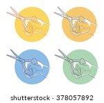 hand with scissors   Shutterstock .eps vector #378057892