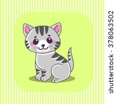 Stock vector cute cat little tiny gray striped kitten sitting characters the concept of children s and 378063502