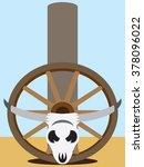 Flat Vector Steer Skull And...
